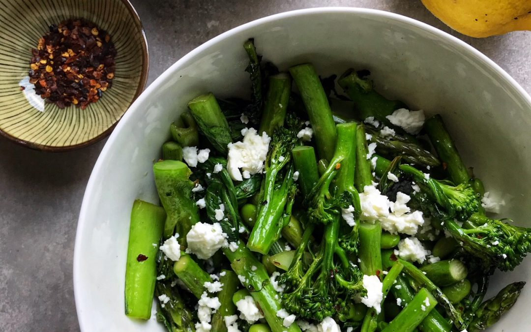 Greens with Feta & Almonds