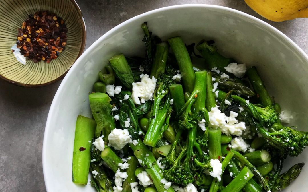 Greens with feta and almonds